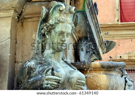 Famous fountain in Bologna, Italy