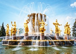 Famous fountain of friendship of the nations. Moscow. Russia.