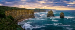 famous gibson steps at sunrise, twelve apostles, great ocean road in victoria, australia