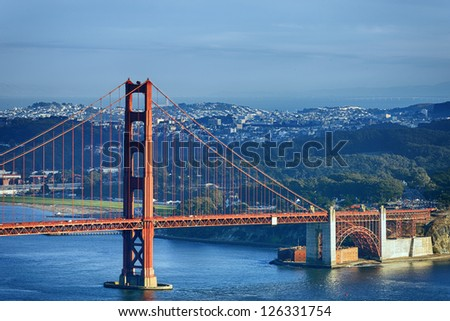 famous Golden Gate Bridge and downtown San Francisco