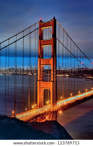 famous Golden Gate Bridge and San Francisco lights at sunset