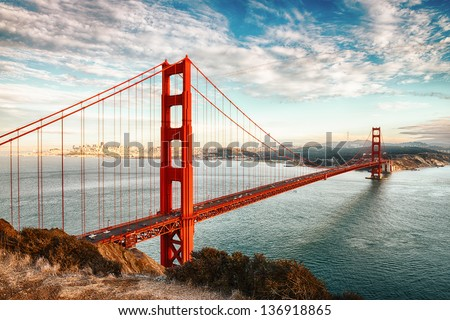 stock photo famous golden gate bridge san francisco at night usa 136918865 - Каталог — Фотообои «Мосты»