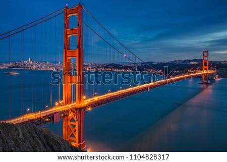Famous Golden Gate Bridge shot at magic twilight hour at San Francisco, USA. #1104828317