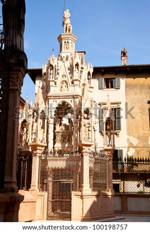 Famous gothic funerary monument Scaliger Tombs (Arche scaligere) in Verona, Italy