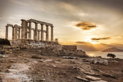 Famous Greek temple Poseidon,  Cape Sounion in Greece