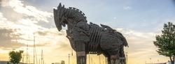 Famous Greek trojan horse statue that is exhibited at Çanakkale, Turkey.
