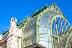 Famous Greenhouse in Vienna . Side view of building with roof made by glass