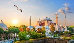 Famous Hagia Sophia in the evening sun rays, Istanbul, Turkey