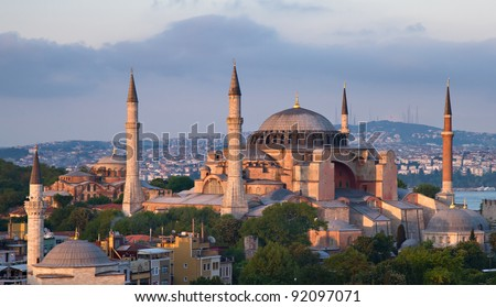 Famous Hagia Sophia in the late evening sun, Istanbul, Turkey