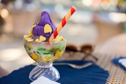Famous halo halo or mixed iced from Philippines
