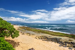 Famous Hookipa beach, popular surfing spot filled with a white sand beach, picnic areas and pavilions. Maui, Hawaii, USA.