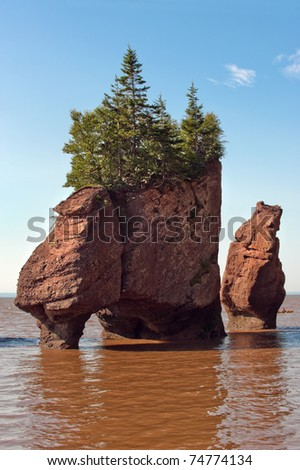 Famous Hopewell rocks at high tide, New Brunswick