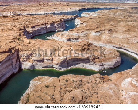 Famous Horseshoe bend shot from high vintage point at Arizona, USA.
