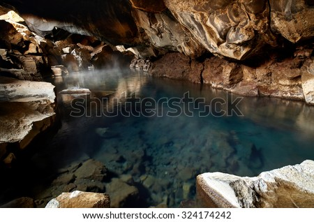 Famous hot spring cave in Iceland grjotagja has water above 50 degrees celcius and is dangerous for swimming