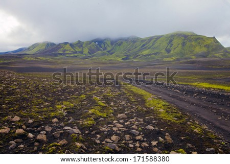 Famous icelandic popular tourist destination and hiking hub in Iceland's highlands landmannalaugar colorful mountains landscape view, South Iceland  #171588380