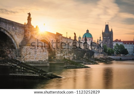 Famous iconic image of Charles bridge, Prague, Czech Republic. Concept of world travel, sightseeing and tourism. #1123252829