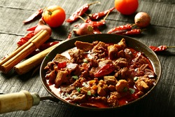 Famous Indian meat curry - traditional cooking