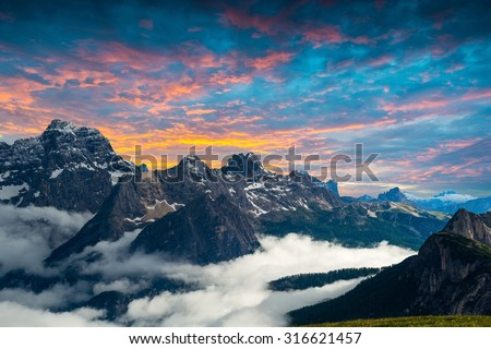 famous Italian National Park Tre Cime di Lavaredo. Dolomites, South Tyrol.  Auronzo - Shutterstock ID 316621457