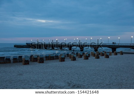 Famous Kolobrzeg Pier just after sunset.