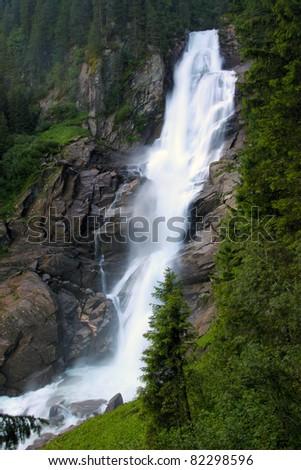 Famous Krimml waterfall in Austrian Alps