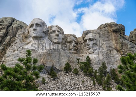 Famous Landmark and Mountain Sculpture - Mount Rushmore, near Keystone, South Dakota.  Shot taken July 2009.