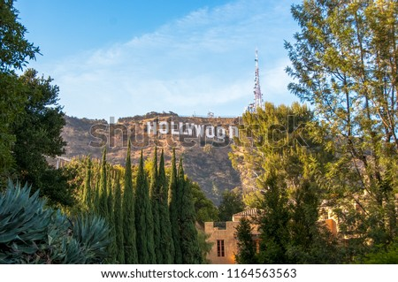 Famous landmark Hollywood Sign in Los Angeles, California.