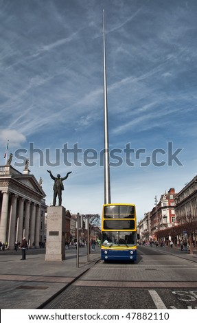 famous landmark in Dublin, Ireland center symbol - spire