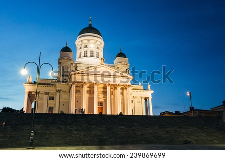 Famous landmark in Finnish capital: Senate Square with Lutheran cathedral and monument to Russian emperor Alexander II at summer night