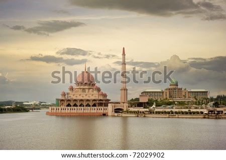 Famous landmark of mosque in Putrajaya, Malaysia, Asia.