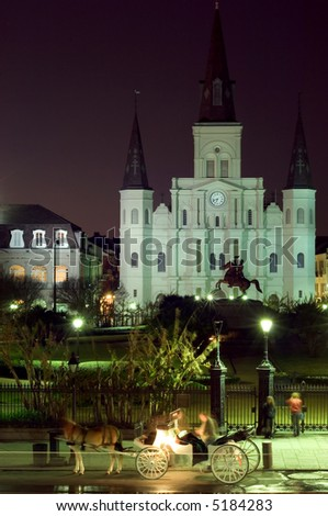 Famous landmark on Jackson square at night, New Orleans