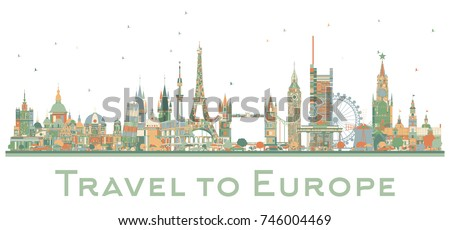 Famous Landmarks in Europe. Business Travel and Tourism Concept. Image for Presentation, Banner, Placard and Web Site