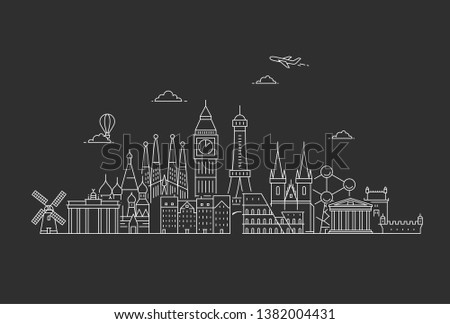 Famous Landmarks in Europe. Travel and tourism background.