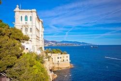 Famous landmarks in Monaco Ville seafront view, Monaco.
