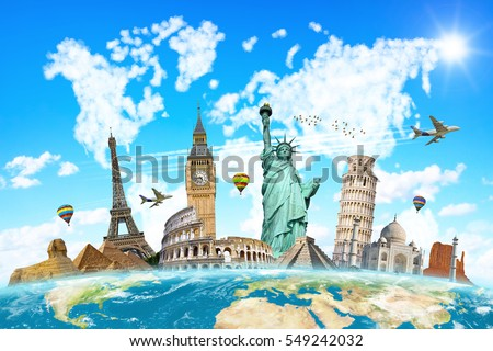 Famous landmarks of the world connected to each other in front of blue background #549242032