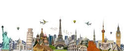 Famous landmarks of the world grouped together