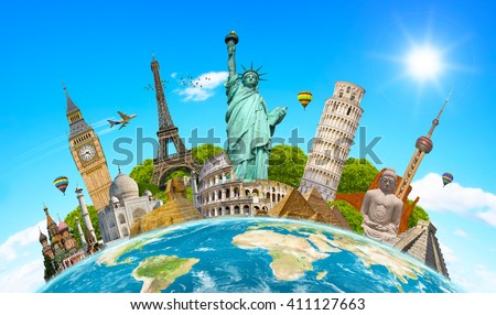 Famous landmarks of the world grouped together on planet Earth - Shutterstock ID 411127663