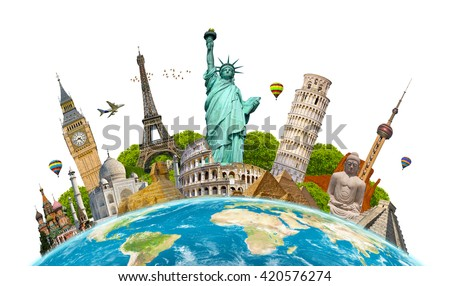 Famous landmarks of the world grouped together on planet Earth 'elements of this image furnished by NASA' - Shutterstock ID 420576274