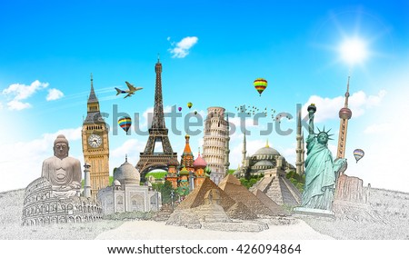Famous landmarks of the world with hand-drawn effect - Shutterstock ID 426094864