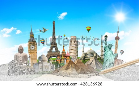 Famous landmarks of the world with hand-drawn effect - Shutterstock ID 428136928