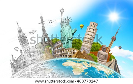 Famous landmarks of the world with hand-drawn effect - Shutterstock ID 488778247