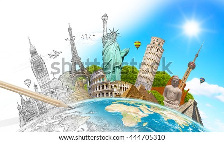 Famous landmarks of the world with hand-drawn effect 'elements of this image furnished by NASA' '3D rendering' - Shutterstock ID 444705310