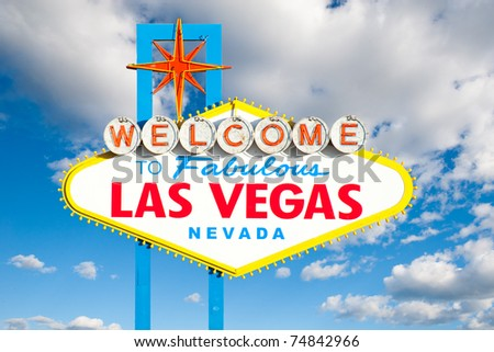 Famous Las Vegas Welcome Sign with beautiful sky background