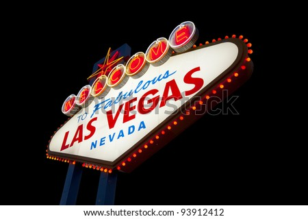 Famous Las Vegas Welcome Sign with black background