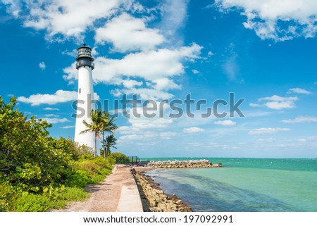 Famous lighthouse at Cape Florida in the south end of Key Biscayne , Miami #197092991