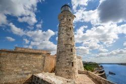 Famous Lighthouse of the Morro Castle (Castillo de los Tres Reyes del Morro), a fortress guarding the entrance to Havana bay in Havana, Cuba