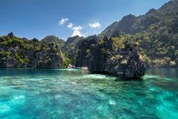 Famous Lime rocks of Coron island Busuanga Palawan Philippines