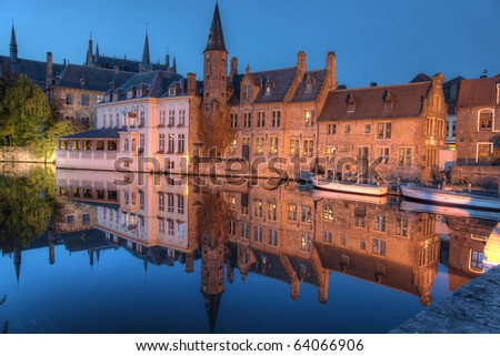Famous location in Bruges, Belgium, the rozenhoedkaai, at night
