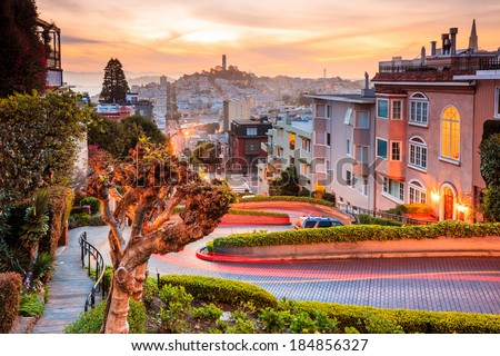 stock photo famous lombard street in san francisco at sunrise 184856327 - Каталог — Фотообои «Улицы, переулки»