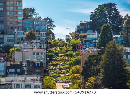Famous Lombard Street, San Francisco, California, USA #549914773