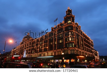 Famous London department store decorated for Christmas